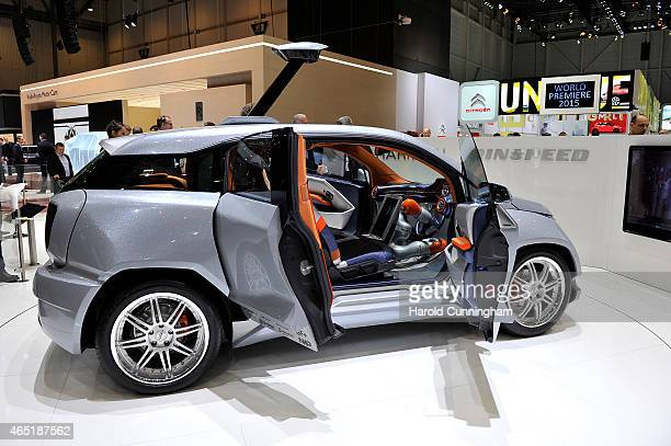 Rinspeed Budii autonomous car concept is shown during the 85th International Motor Show on March 3 2015 in Geneva Switzerland The 85th International...