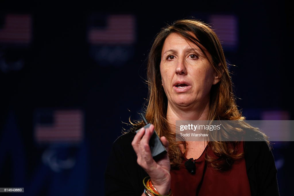 Rio 2016 Head of Press Operations Lucia Montanarella addresses the media at the USOC Olympic Media Summit at The Beverly Hilton Hotel on March 9, 2016 in Beverly Hills, California.