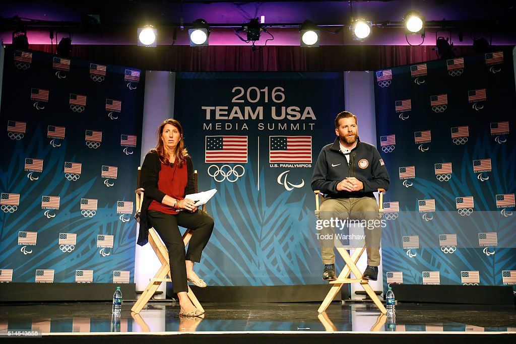 Rio 2016 Head of Press Operations Lucia Montanarella and USOC Senior Director of Communications Mark Jones address the media at the USOC Olympic Media Summit at The Beverly Hilton Hotel on March 9, 2016 in Beverly Hills, California.