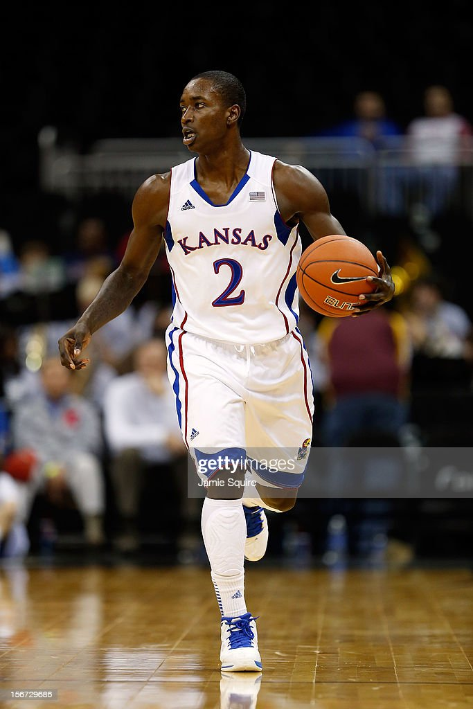 Rio Adams #2 of the Kansas Jayhawks controls the ball during the CBE Hall of Fame Classic game against the Washington State Cougars at Sprint Center on November 19, 2012 in Kansas City, Missouri.