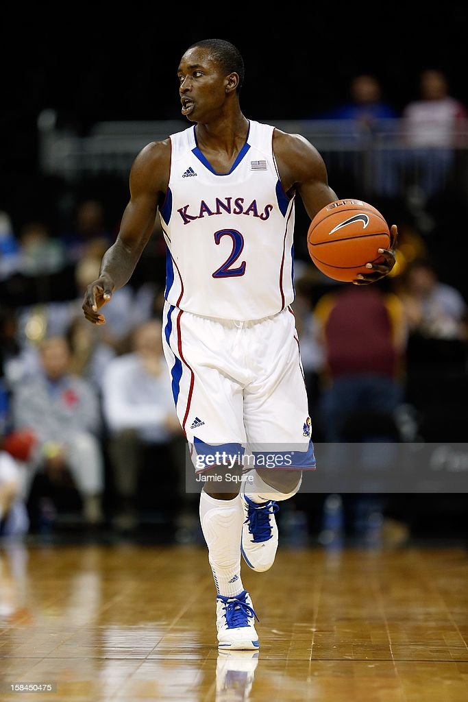 Rio Adams #2 of the Kansas Jayhawks in action during the CBE Hall of Fame Classic against the Washington State Cougars at the Sprint Center on November 19, 2012 in Kansas City, Missouri.