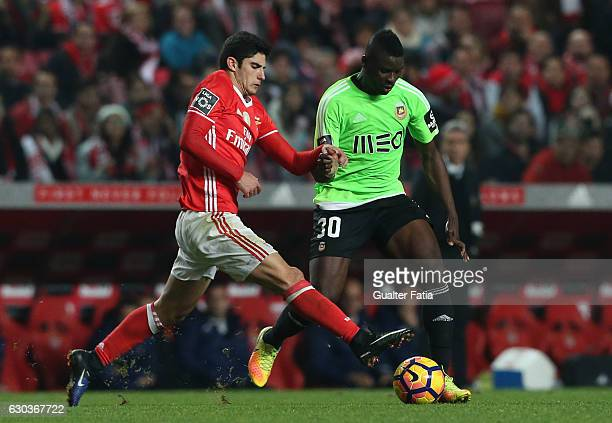 Rio Ave FC's midfielder Alhassan Wakaso with SL Benfica's midfielder Goncalo Guedes in action during the Primeira Liga match between SL Benfica and...