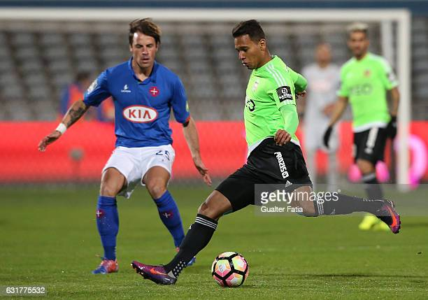 Rio Ave FC's midfielder Filipe Augusto in action during the Primeira Liga match between CF Os Belenenses and Rio Ave FC at Estadio do Restelo on...