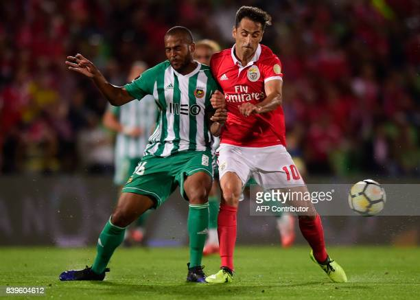 Rio Ave's Brazilian defender Marcao vies with Benfica's Brazilian forward Jonas during the Portuguese league football match Rio Ave vs SL Benfica at...