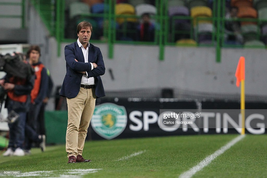 Rio Ave's coach Pedro Martins during the match between Sporting CP and Rio Ave FC for the Portuguese Primeira Liga at Jose Alvalade Stadium on February 08, 2016 in Lisbon, Portugal.