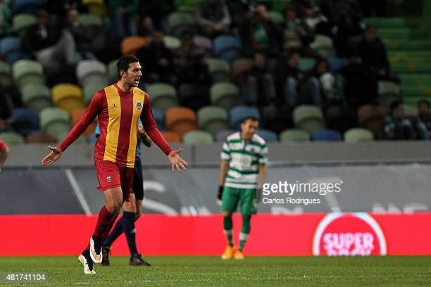 Rio Ave's forward Ahmed Hassan celebrates s oring Rio Ave«s second goal goal during the Primeira Liga match between Sporting CP and Rio Ave at...