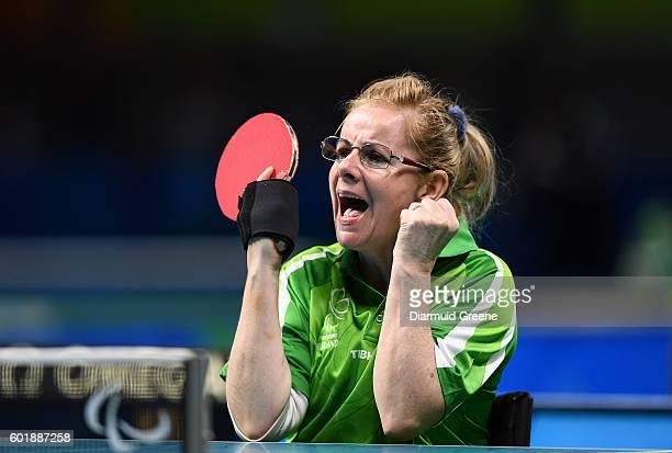 Rio Brazil 10 September 2016 Rena McCarron Rooney of Ireland celebrates a score during the SF1 2 Women's Singles Quarter Final against SuYeon Seo of...