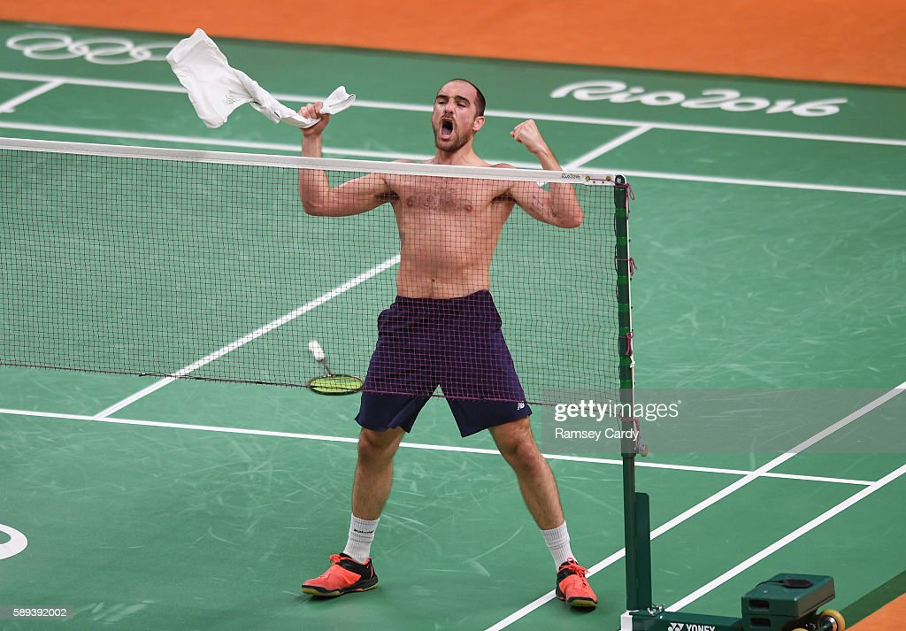 Rio Brazil 13 August 2016 Scott Evans of Ireland celebrates his victory in the Men's Singles Group Play Stage match between Scott Evans and Ygor...
