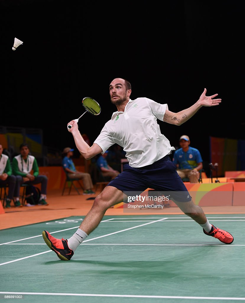 Rio Brazil 13 August 2016 Scott Evans of Ireland competes during the Men's Singles Group Play Stage match between Scott Evans and Ygor Coelho de...