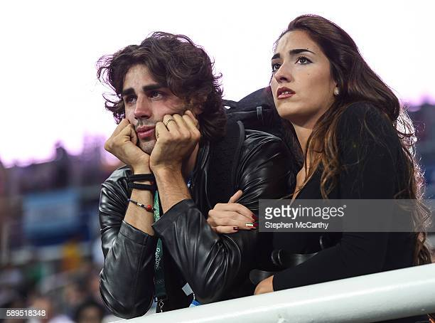 Rio Brazil 14 August 2016 Injured Italian high jumper Gianmarco Tamberi watches on during the Men's High Jump qualification at the Olympic Stadium...