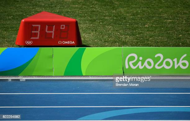Rio Brazil 15 August 2016 A display shows the temperature in the Olympic Stadium during the 2016 Rio Summer Olympic Games in Rio de Janeiro Brazil