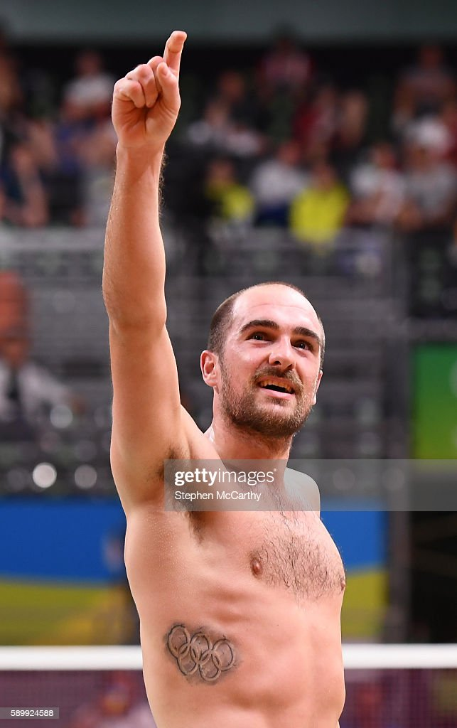 Rio Brazil 15 August 2016 Scott Evans of Ireland acknowledges his supporters following the Men's Singles Round of 16 match between Scott Evans and...