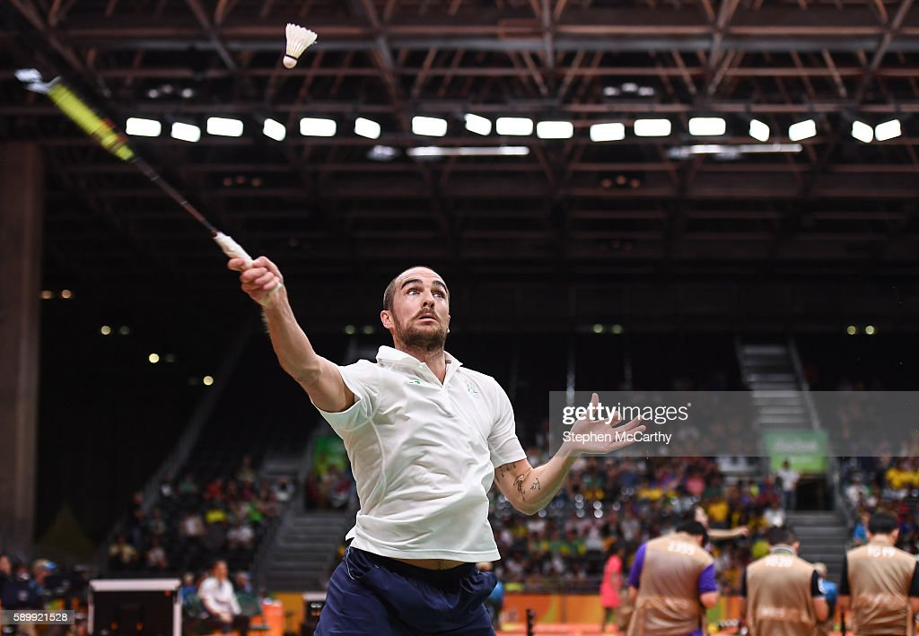 Rio Brazil 15 August 2016 Scott Evans of Ireland during the Men's Singles Round of 16 match between Scott Evans and Viktor Axelsen at the Riocentro...