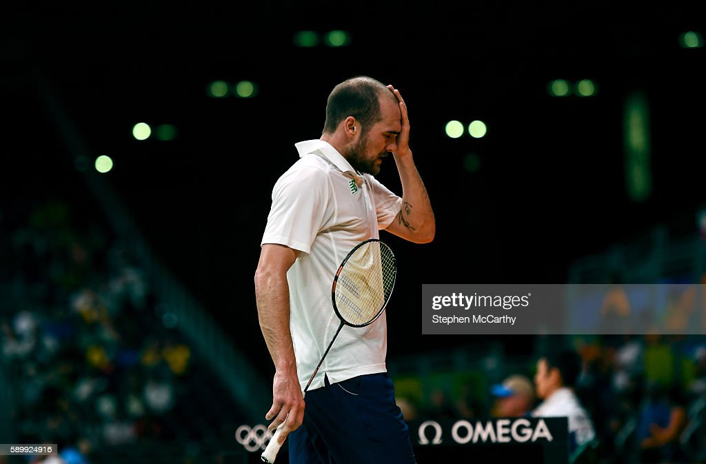 Rio Brazil 15 August 2016 Scott Evans of Ireland reacts during the Men's Singles Round of 16 match between Scott Evans and Viktor Axelsen at the...