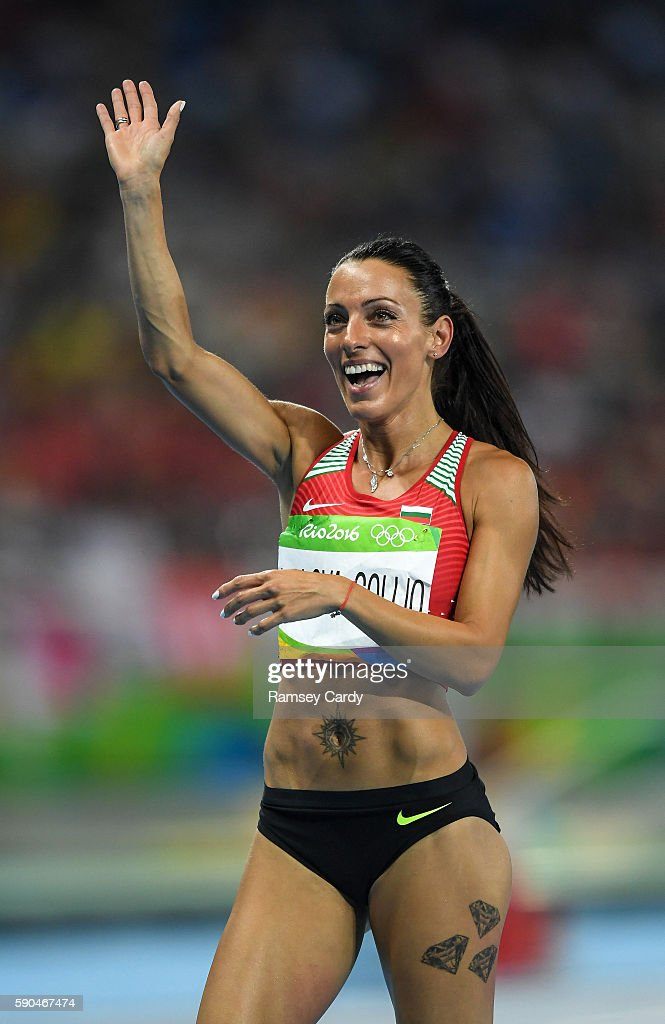 Rio Brazil 16 August 2016 Ivet LalovaCollio of Bulgaria celebrates qualification in the Women's 200m Semifinal at the Olympic Stadium during the 2016...