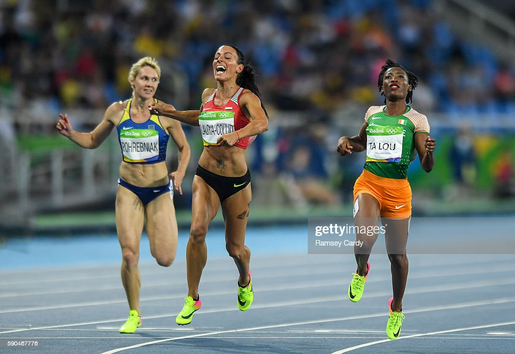 Rio Brazil 16 August 2016 Race winner MarieJosee Talou right of Ivory Coast and second placed Ivet LalovaCollio of Bulgaria following the Women's...