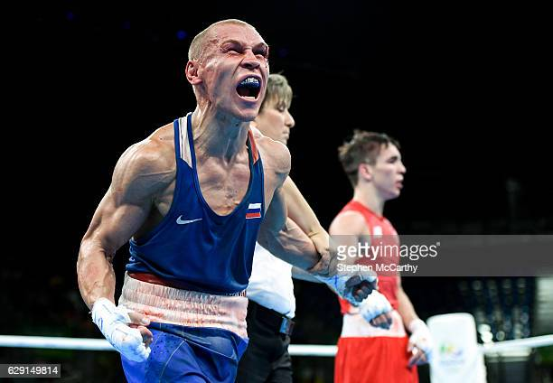 Rio Brazil 16 August 2016 Vladimir Nikitin of Russia celebrates following his Bantamweight Quarter Final bout victory over Michael Conlan of Ireland...