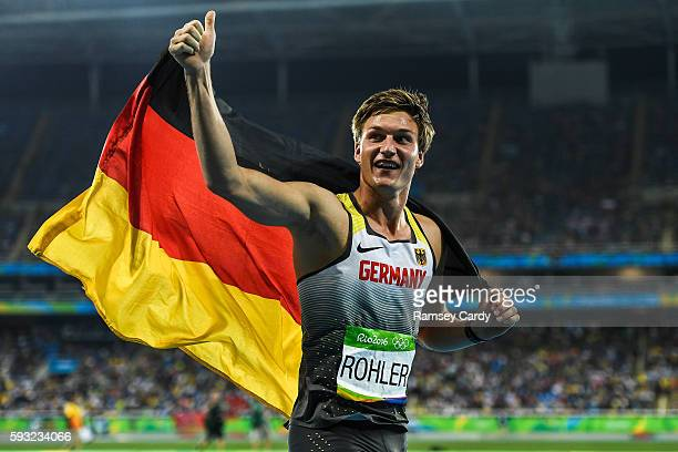 Rio Brazil 20 August 2016 Thomas Rohler of Germany following his victory in the Men's Javelin Throw Final in the Olympic Stadium during the 2016 Rio...