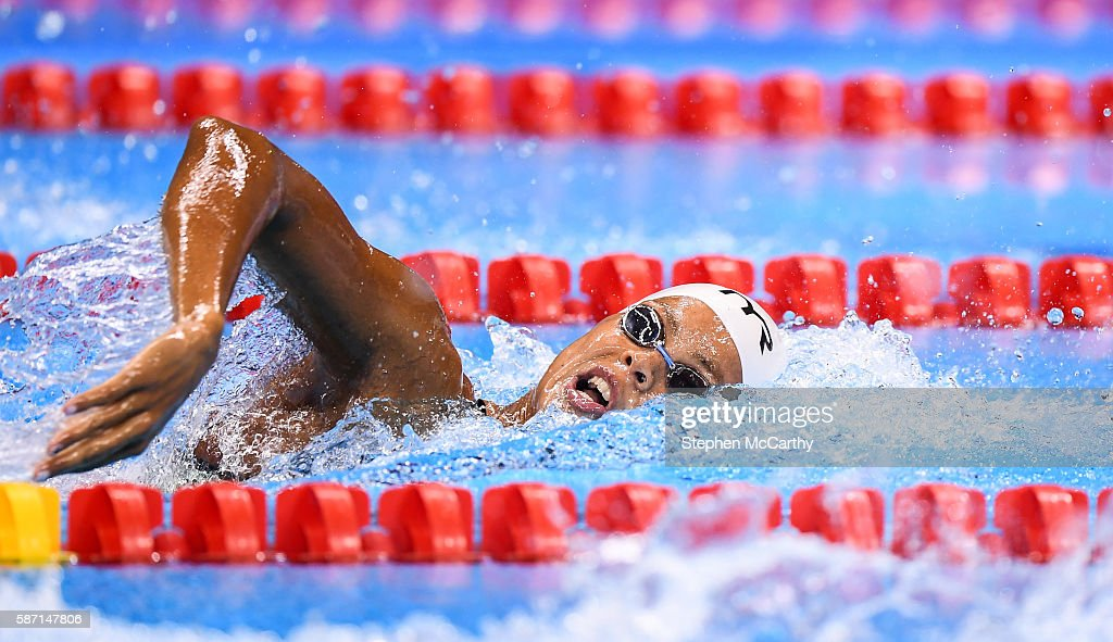 Rio Brazil 7 August 2016 Coralie Balmy of France competing in the final of the Women's 400m Freestyle at the Olympic Aquatic Stadium during the 2016...