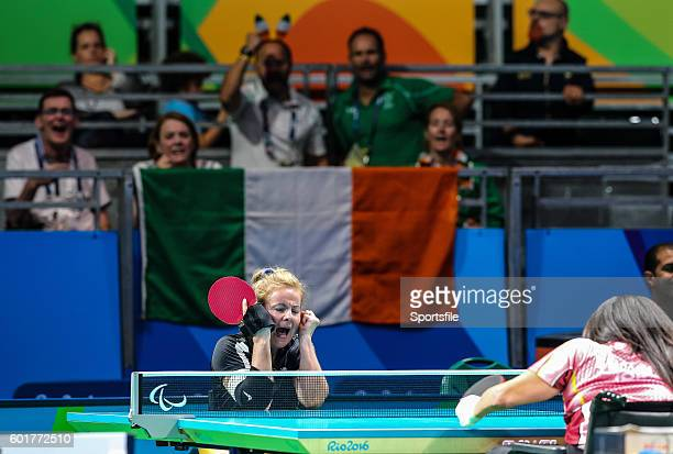 Rio Brazil 9 September 2016 Rena McCarronRooney of Ireland celebrates a point against Maha Bargouthi of Jordan during their Women's Singles Table...
