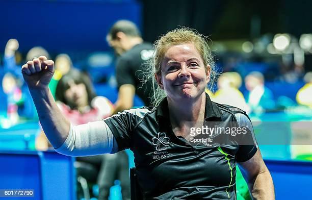 Rio Brazil 9 September 2016 Rena McCarronRooney of Ireland celebrates after beating Maha Bargouthi of Jordan during their Women's Singles Table...