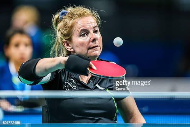 Rio Brazil 9 September 2016 Rena McCarronRooney of Ireland in action against Maha Bargouthi of Jordan during their Women's Singles Table Tennis Class...