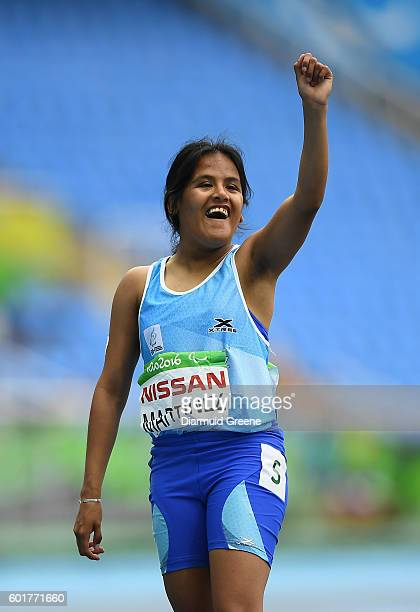 Rio Brazil 9 September 2016 Yanina Andrea Martinez of Argentina celebrates after winning the Women's 100m T36 Final at the Rio Olympic Stadium during...