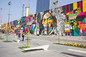 Graffiti panel quotEthnicitiesquot with 3000 square meters receives finishing touches and will be opened in the coming days on Olympic Boulevard in...
