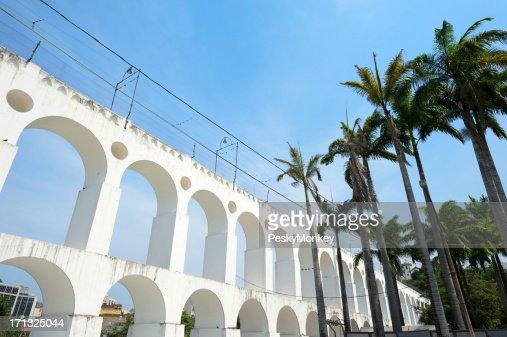 Rio de Janeiro Brazil Lapa Arches with Palm Trees