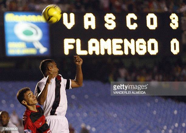 Romario de Souza Faria of Vasco da Gama vies for the ball 25 March 2007 during a local championship match against Flamengo at the Maracana stadium in...