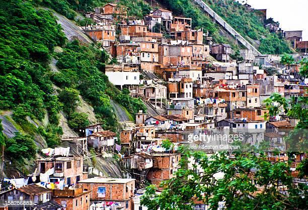 Rio de Janeiro, favela settlement on hillside.