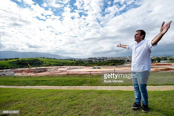 Rio de Janeiro Major Eduardo Paes gestures during a visit to the Deodoro Sports Complex in Ricardo de Albuquerque neighborhood on April 2 2015 in Rio...