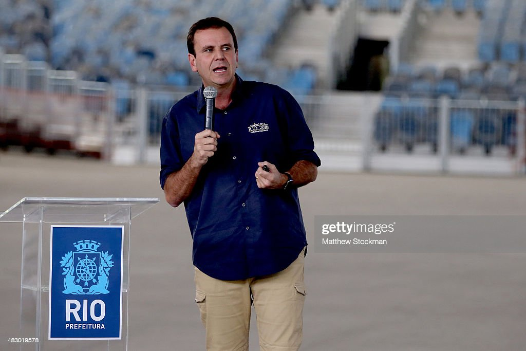 Rio de Janeiro Mayor <a gi-track='captionPersonalityLinkClicked' href=/galleries/search?phrase=Eduardo+Paes&family=editorial&specificpeople=5692531 ng-click='$event.stopPropagation()'>Eduardo Paes</a> addresses the media during a press conference marking 1 year to go until the Rio 2016 Olympic Games at the Olympic Park in the Barra da Tijuca neighborhood on August 3, 2015 in Rio de Janeiro, Brazil.