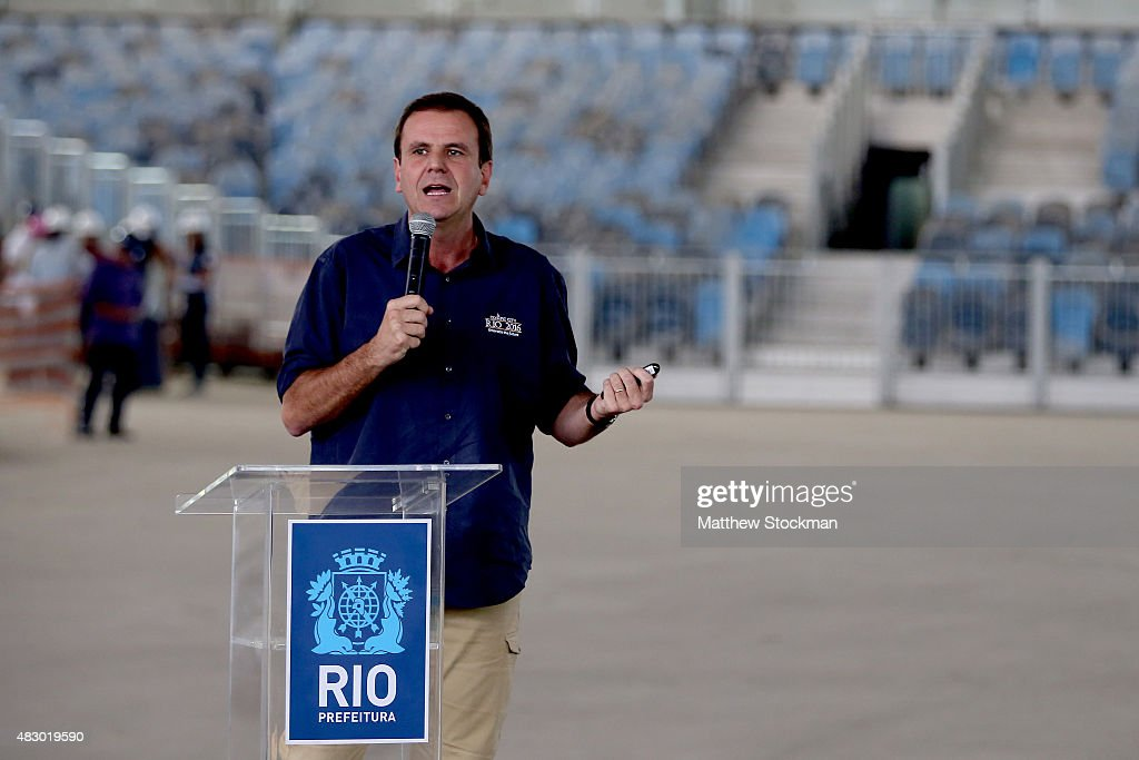 Rio de Janeiro Mayor Eduardo Paes addresses the media during a press conference marking 1 year to go until the Rio 2016 Olympic Games at the Olympic...