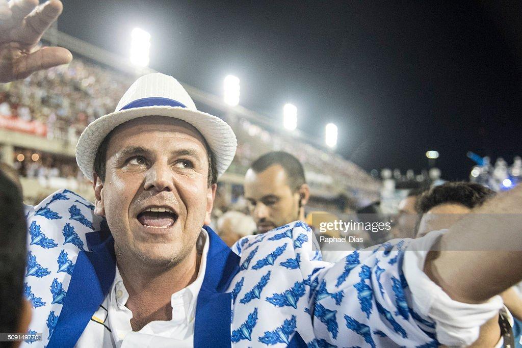 Rio de Janeiro mayor Eduardo Paes attends to the Rio Carnival in Sambodromo on February 8 2016 in Rio de Janeiro Brazil Despite the Zika virus...