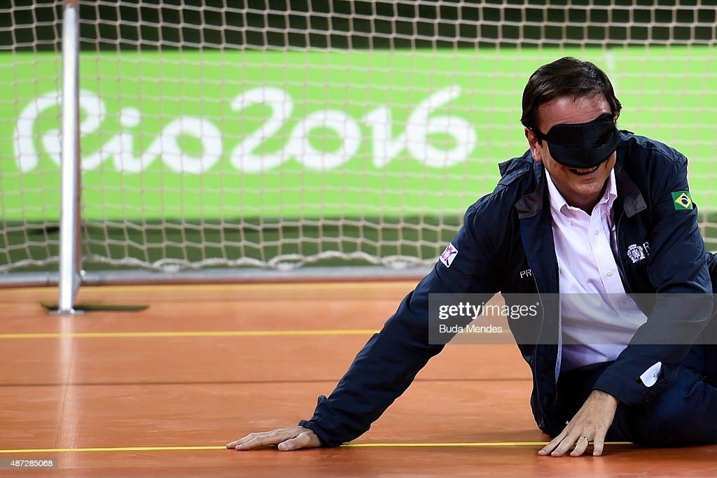 Rio de Janeiro Mayor <a gi-track='captionPersonalityLinkClicked' href=/galleries/search?phrase=Eduardo+Paes&family=editorial&specificpeople=5692531 ng-click='$event.stopPropagation()'>Eduardo Paes</a> plays Goalball during the presentation of the Rio 2016 Olympic Handball and Rio 2016 Paralympic Goalball venue at the Rio 2016 Olympic Park on September 8, 2015 in Rio de Janeiro, Brazil. The event marks the one year countdown to Rio 2016 Paralympic Games.
