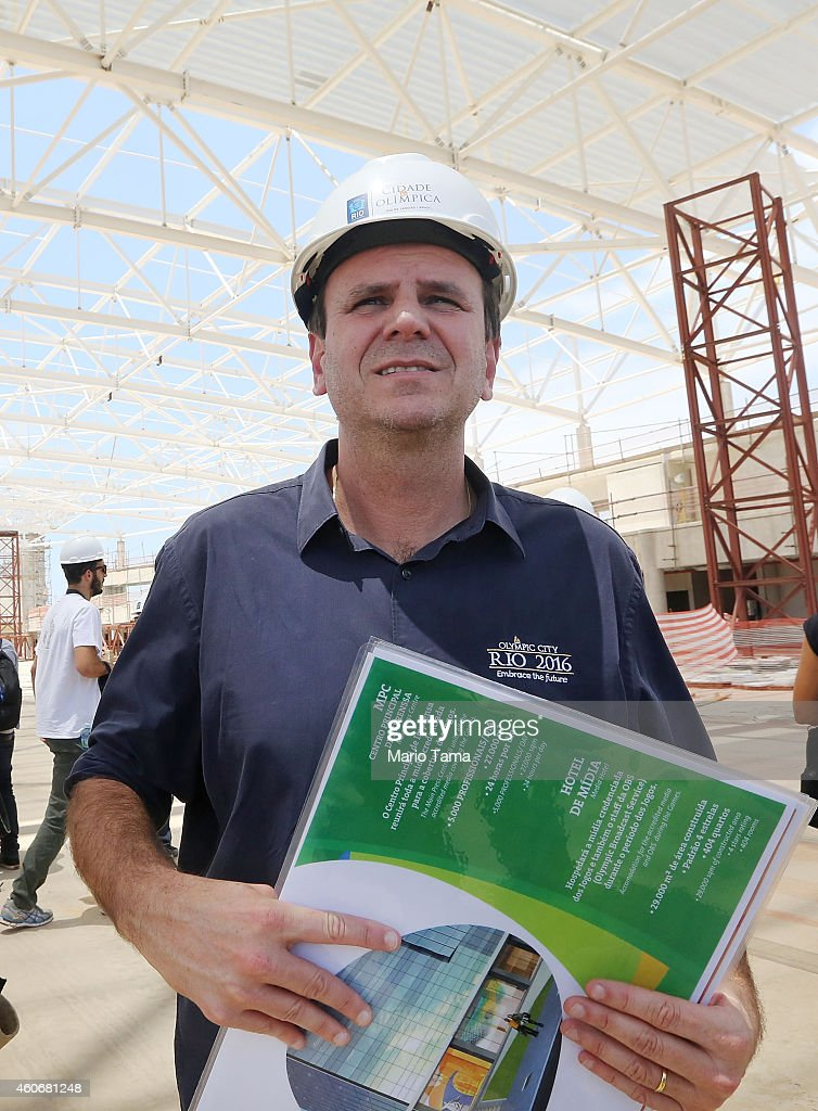 Rio de Janeiro Mayor Eduardo Paes tours Carioca Arena 3 during a tour of Olympic Park during ongoing construction for the Rio 2016 Olympic Games on...