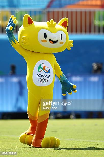 Rio de Janeiro Olympic mascot Vinicius waves to spectators during the Women's Pool A rugby match between Ausutralia and Colombia on Day 1 of the Rio...