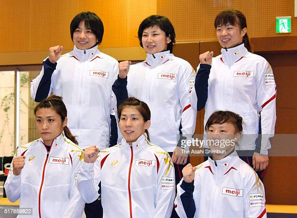 Rio de Janeiro Olympics Japan Wrestling Women's team members Kaori Icho Saori Yoshida and Eri Tosaka Rio Watari Sara Dosho and Risako Kawai pose for...