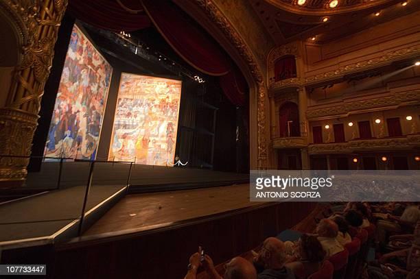 Rio de Janeiro residents and tourists attend a presentation previous to the public presentation of Brazilian painter Candido Portinari's 'War and...