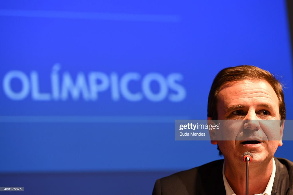 Rio de Janeiro's Mayor <a gi-track='captionPersonalityLinkClicked' href=/galleries/search?phrase=Eduardo+Paes&family=editorial&specificpeople=5692531 ng-click='$event.stopPropagation()'>Eduardo Paes</a> attends during a press conference of Two Years to Go to the Rio 2016 Olympics Opening Ceremony on August 4, 2014 in Rio de Janeiro, Brazil.