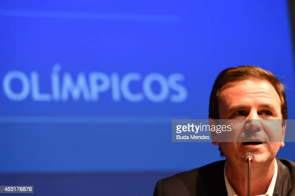 Rio de Janeiro's Mayor Eduardo Paes attends during a press conference of Two Years to Go to the Rio 2016 Olympics Opening Ceremony on August 4 2014...