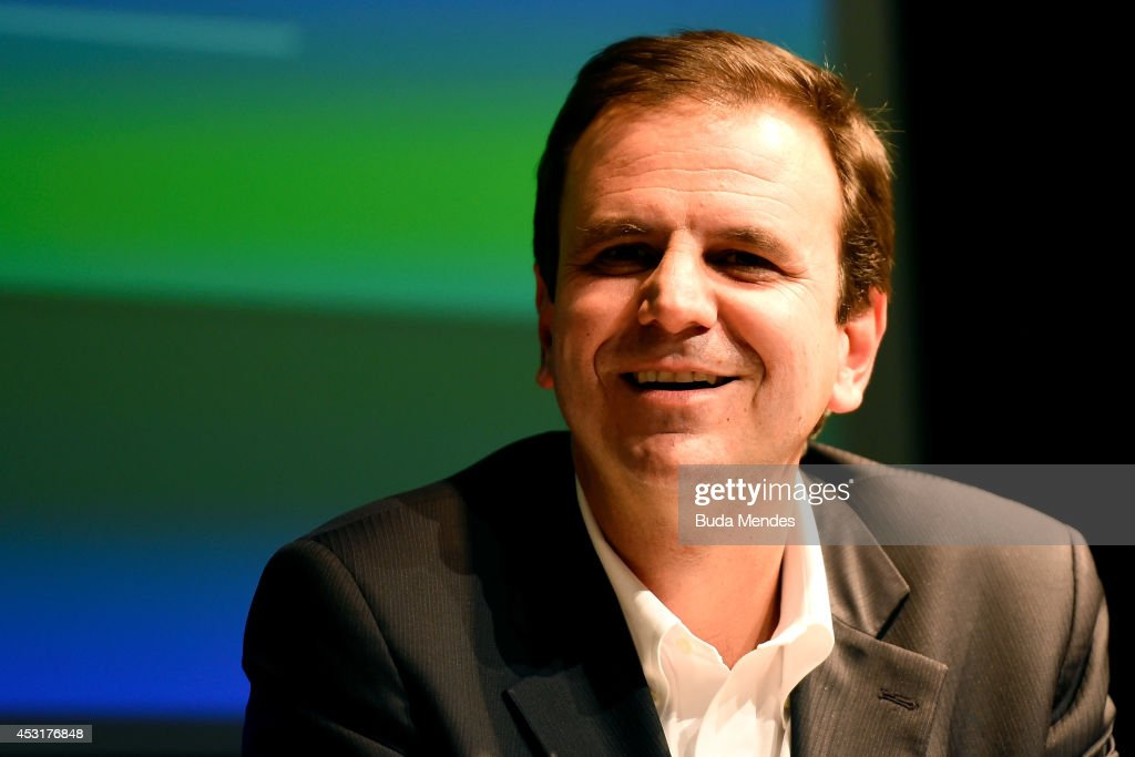 Rio de Janeiro's Mayor Eduardo Paes looks on during a press conference of Two Years to Go to the Rio 2016 Olympics Opening Ceremony on August 4 2014...