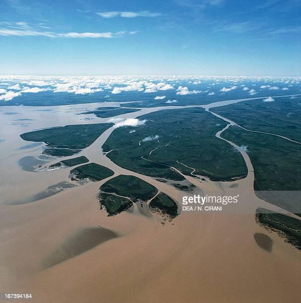 Rio de la Plata estuary of the Parana River Argentina Aerial view