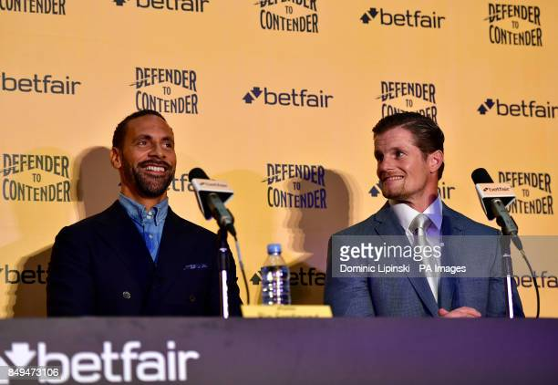 Rio Ferdinand and trainer Mel Deane during the press conference at York Hall London