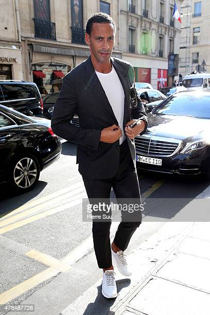 Rio Ferdinand comes back to his hotel after attending the Louis Vuitton show on June 25 2015 in Paris France