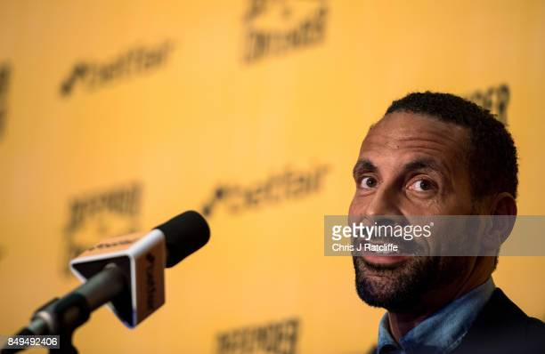 Rio Ferdinand during a press conference at The Town Hall Hotel on September 19 2017 in London England Retired England international footballer Rio...