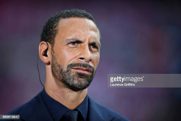 Rio Ferdinand of BT Sport looks on during the Emirates FA Cup Final between Arsenal and Chelsea at Wembley Stadium on May 27 2017 in London England