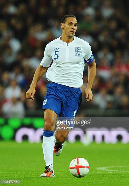 Rio Ferdinand of England in action during the UEFA EURO 2012 Group G Qualifying match between England and Montenegro at Wembley Stadium on October 12...