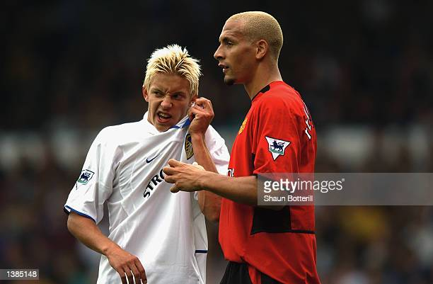 Rio Ferdinand of Manchester United and Alan Smith of Leeds United wait for the goal kick during the FA Barclaycard Premiership match between Leeds...